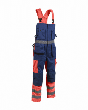 Blaklader 2603 Bib Overalls High Vis (Orange/Navy Blue)